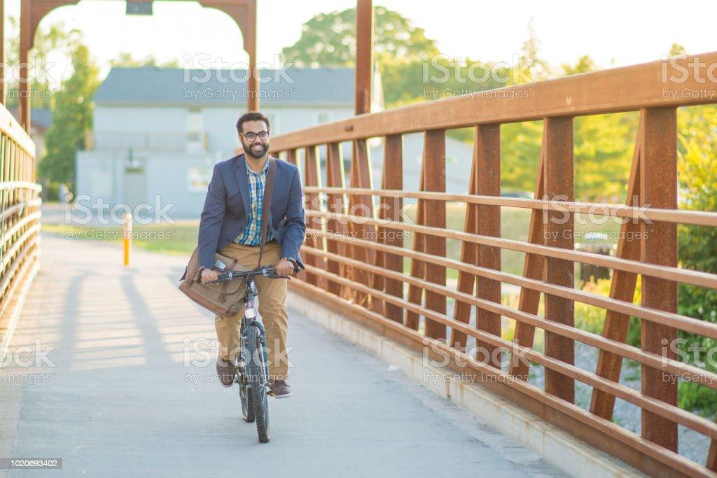 Happy to Bike to Work stock photo