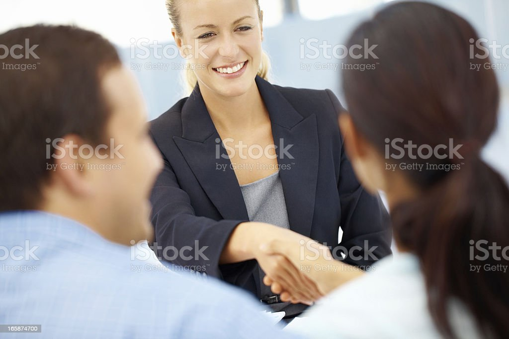 Happy to have helped them start a life together royalty-free stock photo