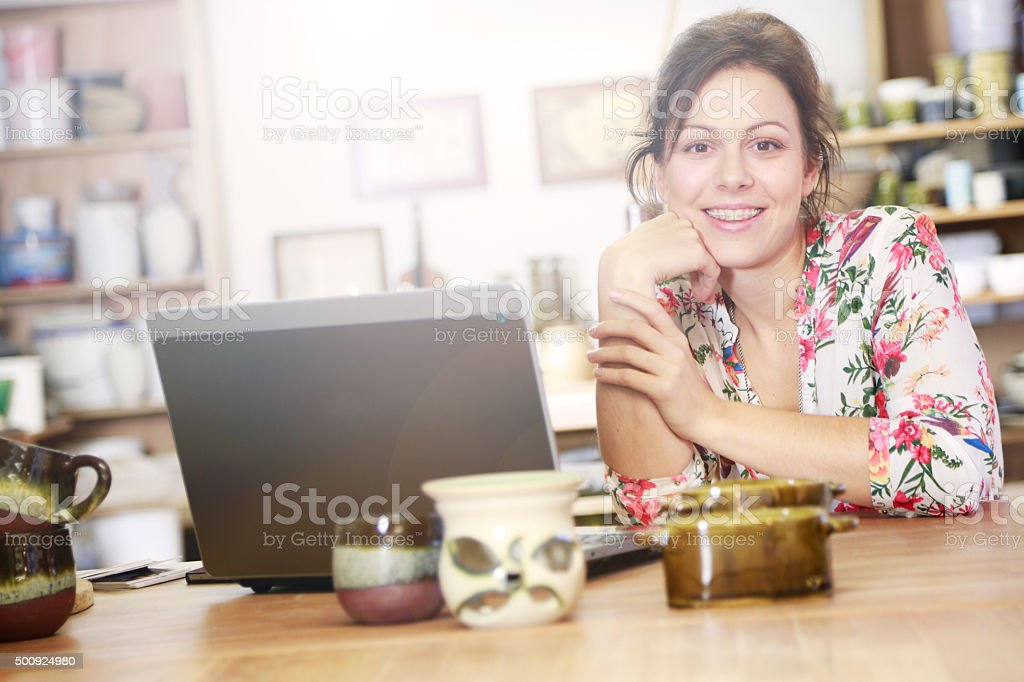 Happy to have my own small bussiness stock photo