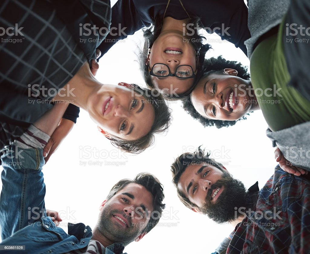 Happy to put their heads together stock photo