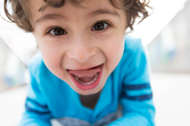 Happy Toddler Boy Making a Goofy Face stock photo