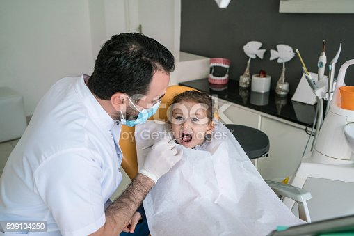 istock Happy toddler girl having her teeth examined at dentist office. 539104250