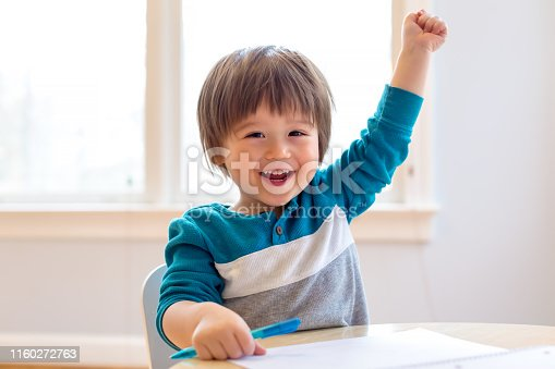 Happy excited toddler raising his hand high