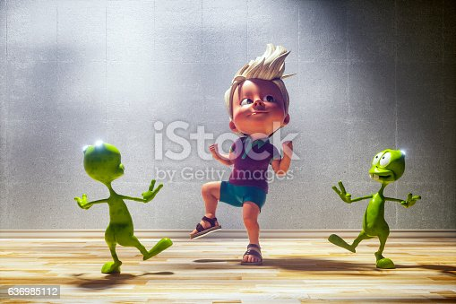 istock Happy toon kid with his alien friends 636985112