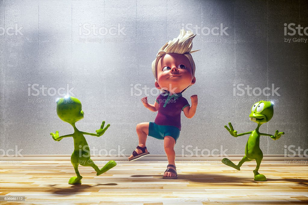 Happy toon kid with his alien friends - fotografia de stock