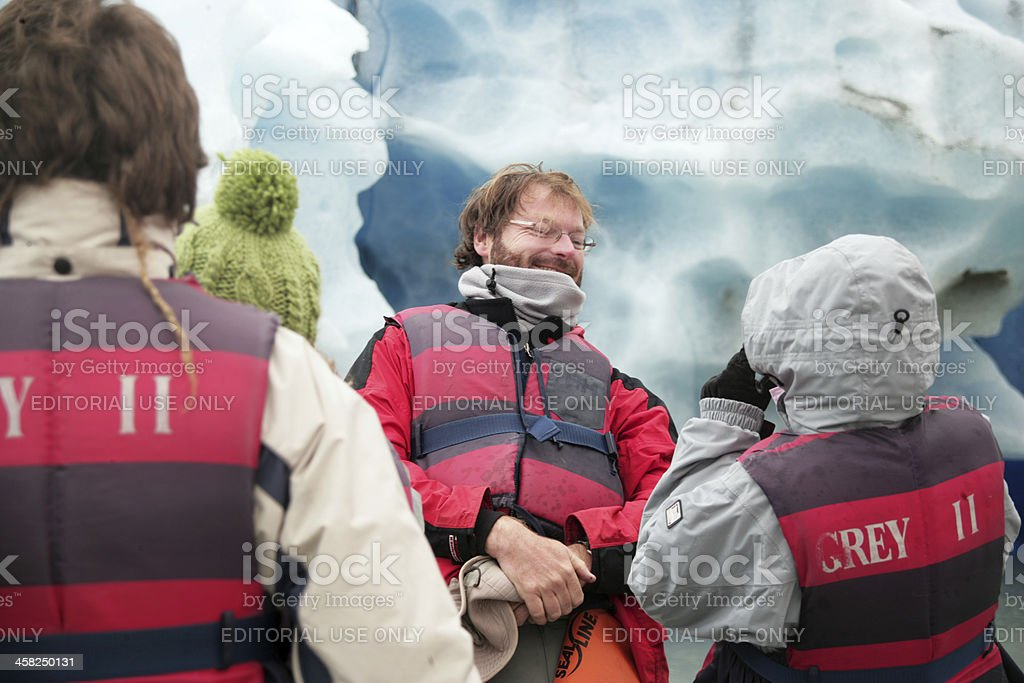 Happy Tourist in a Glacier royalty-free stock photo