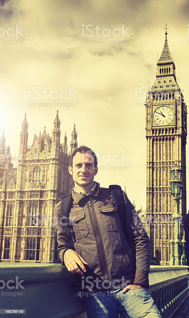 Happy tourist man in front of Big Ben - London royalty-free stock photo