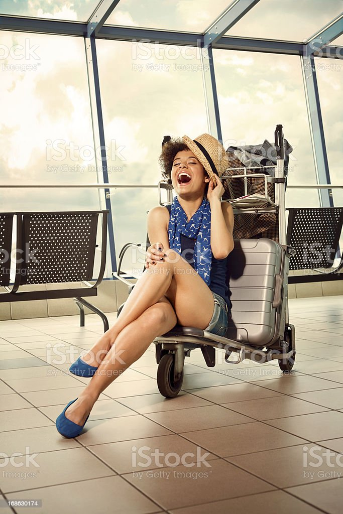 Happy tourist stock photo