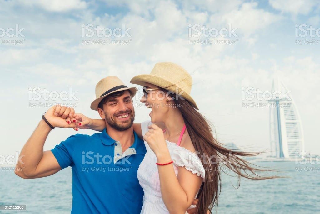 Happy tourists in Dubai stock photo