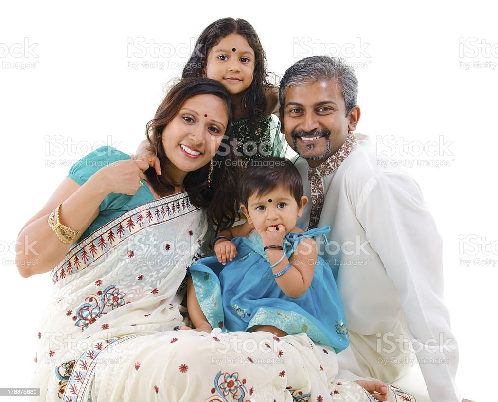 Happy traditional Indian family stock photo