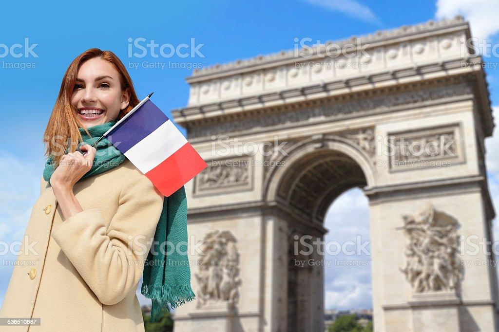 happy travel woman in Paris stock photo