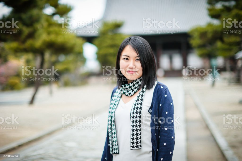 Happy Travelers and temples in Kyoto royalty-free stock photo