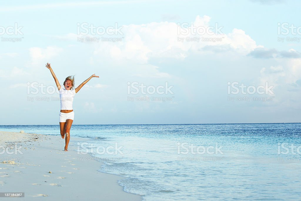 happy tropical girl run royalty-free stock photo