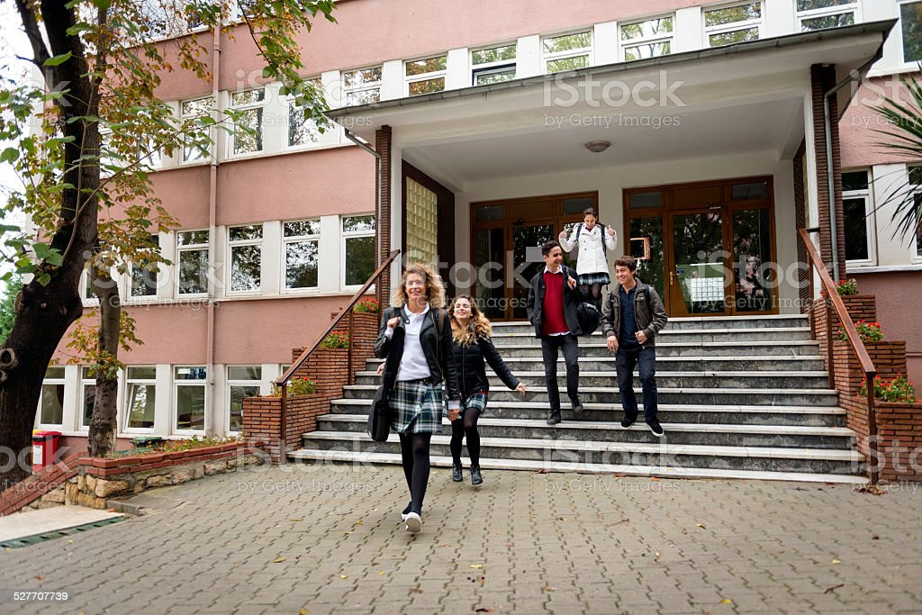 Happy Turkish Students Leaving School, Istanbul stock photo
