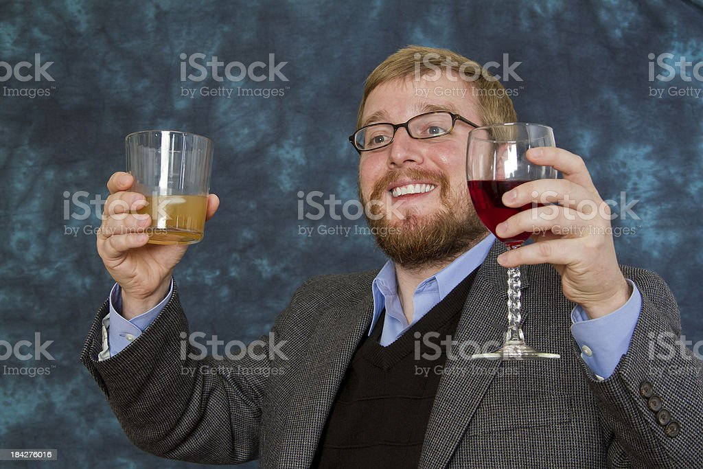 Happy Two-fisted Drinker stock photo