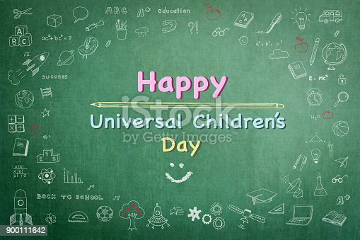 istock Happy universal children's day greeting on teacher's school green classroom chalkboard with student's doodle 900111642