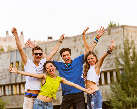 Happy Urban Young People Stock Photo - Download Image Now