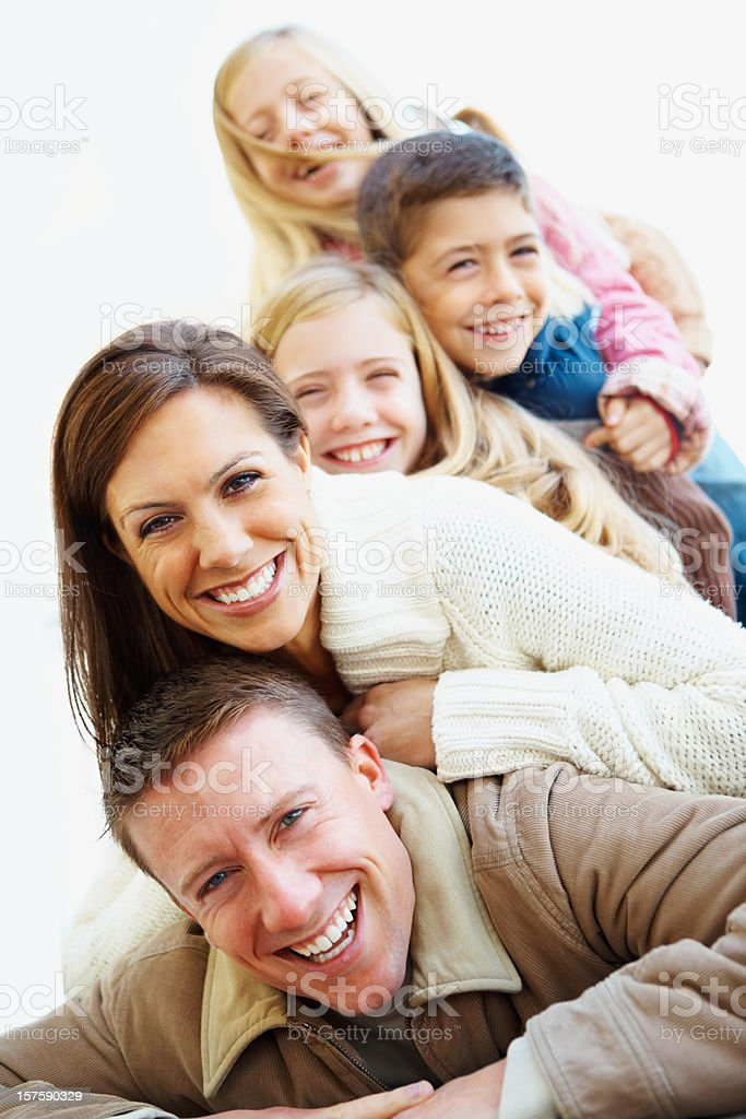 Happy vacation family having fun together royalty-free stock photo