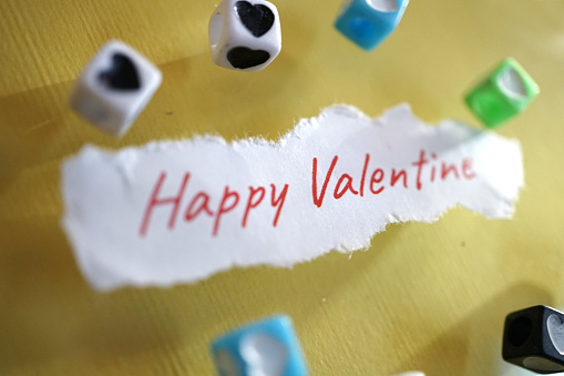 close up shot of word valentines