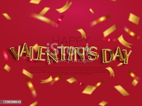 507397624 istock photo Happy Valentines Day banner with gold balloons 1258098543