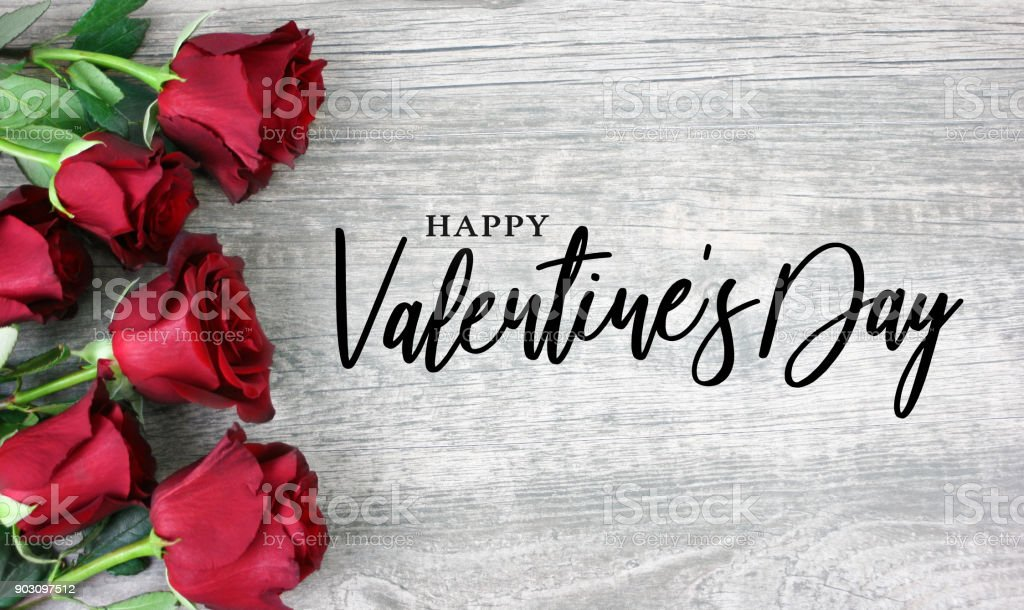 Happy Valentine's Day Calligraphy with Red Roses royalty-free stock photo