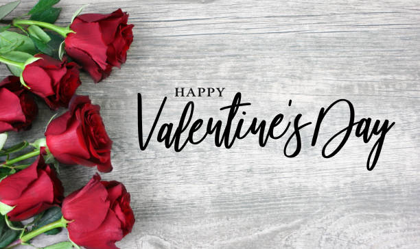 Happy Valentine's Day Calligraphy with Red Roses stock photo