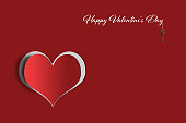 Happy Valentines Day card with heart and key on red background