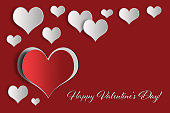 Happy Valentines Day card with hearts on red background