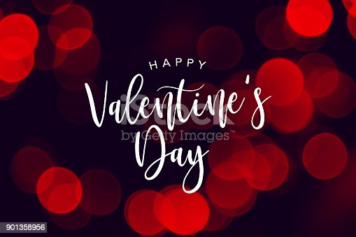 istock Happy Valentine's Day Celebration Text Over Red Duotone Lights Background 901358956