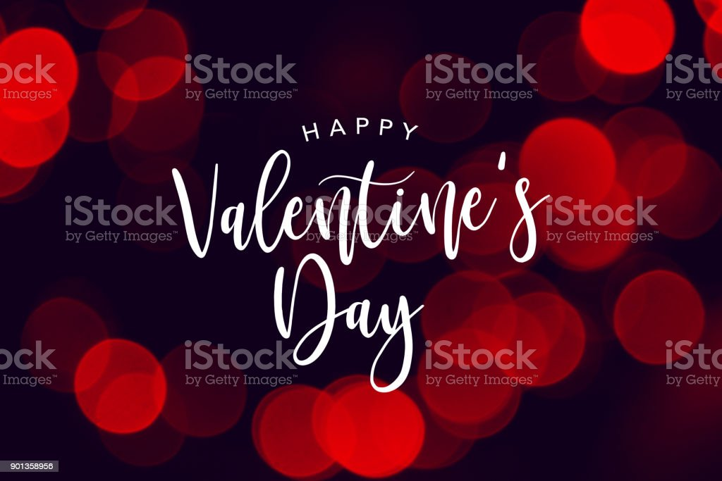 Happy Valentine's Day Celebration Text Over Red Duotone Lights Background stock photo