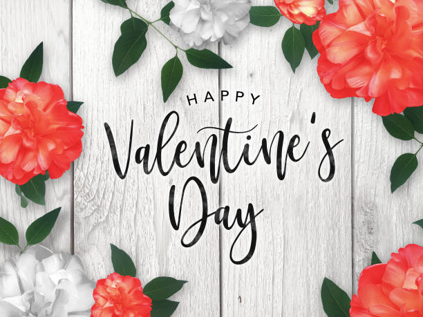 Happy Valentine's Day Celebration Text Over Red Roses Border with Rustic Whitewashed Wood stock photo