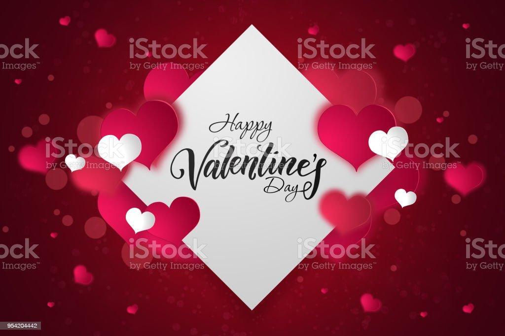 Happy Valentine's Day festive web banner. A view of the composition with pink hearts on a white rhombus background. Wallpaper, flyers, invitations, posters, brochures. - foto stock