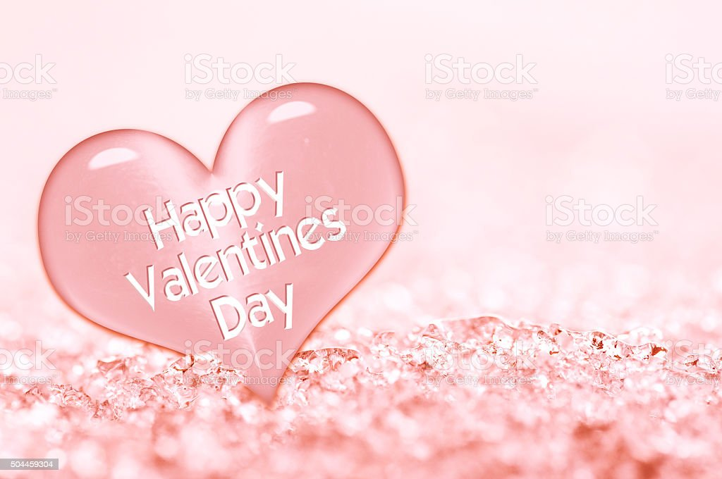 Happy Valentines day greeting card, pink ice heart stock photo