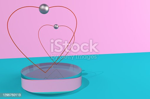 Happy Valentines Day greeting card, poster, banner. A glass stand, podium, pedestal for two hearts. Love and wedding. 3D illustration