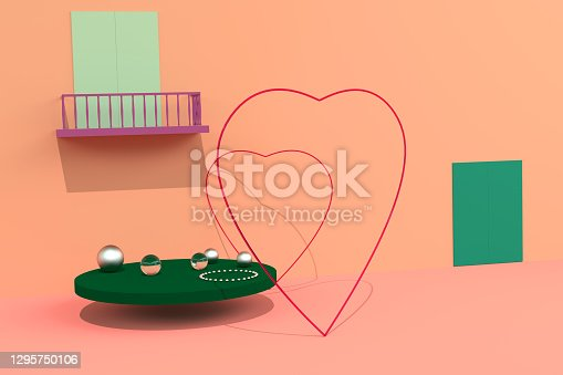 Happy Valentines Day greeting card, poster, banner. Pearls and two hearts. Love and wedding. Fashionable orange coral color. 3D illustration