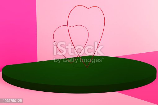 Happy Valentines Day greeting card, poster, banner.Stand, podium, pedestal for two hearts. Love and wedding. 3D illustration