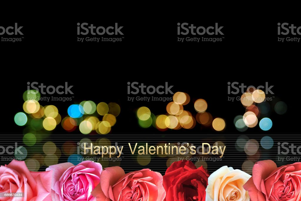 Happy Valentine's Day greeting card with bokeh blur Background. royalty-free stock photo