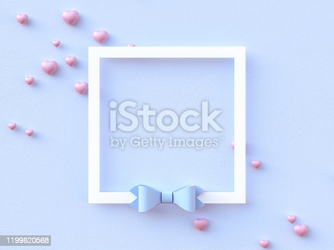 istock Happy valentines day greetings card design with heart flying balloon and hearts decorations in blue pastel background. Minimal flat lay. Weeding design elements. 3d render 1199620568