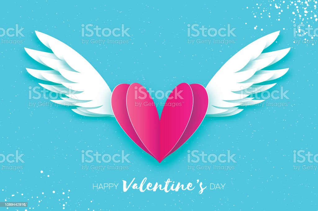 Happy Valentine's Day Greetings card. Origami angel wings and romantic pink heart. Love. Winged heart in paper cut style. Blue sky background. stock photo