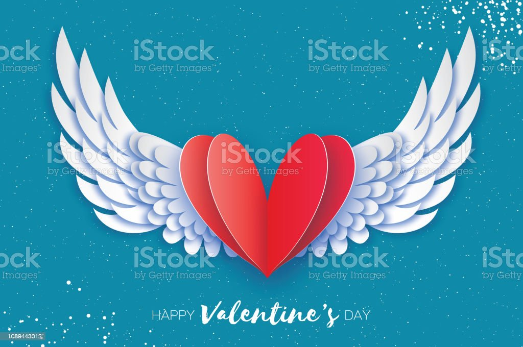 Happy Valentine's Day Greetings card. Origami angel wings and romantic red heart. Love. Winged heart in paper cut style. Blue sky background. stock photo