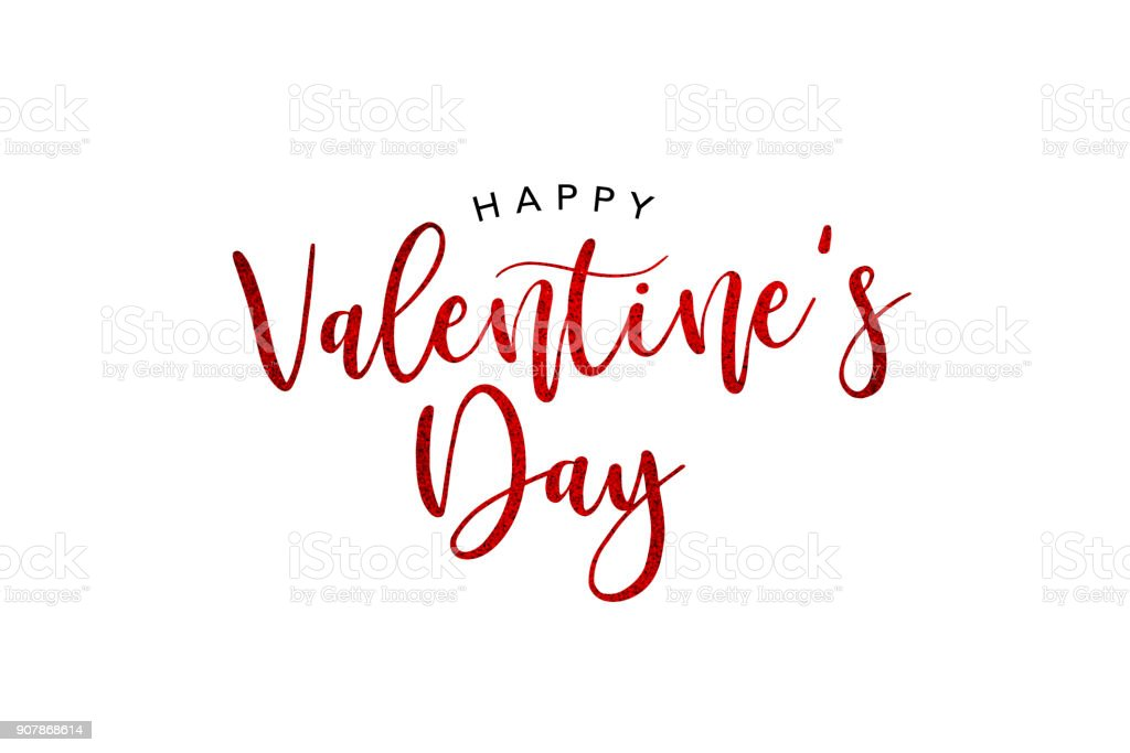 Happy Valentine's Day Holiday Red Glitter Text stock photo