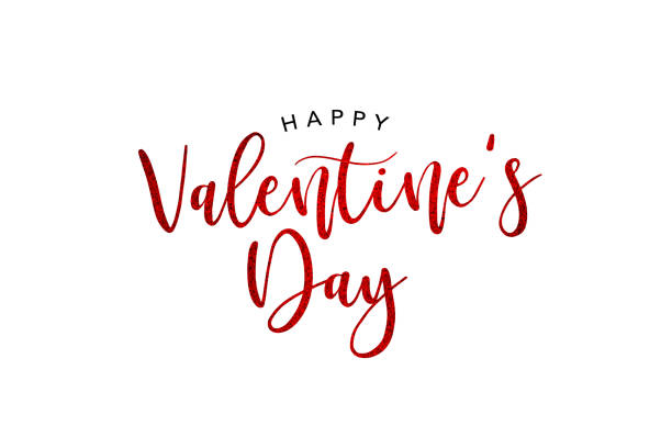 happy valentine's day holiday red glitter tekst - valentijnskaart stockfoto's en -beelden