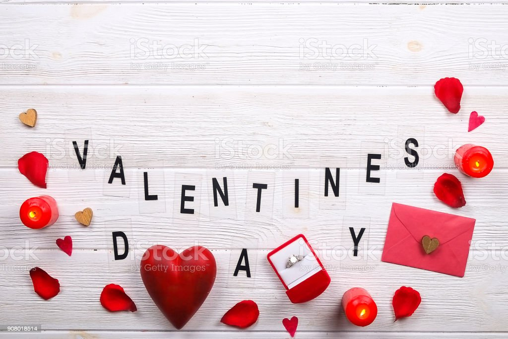 Happy Valentines Day Love Symbols Concept On White Wooden Texture
