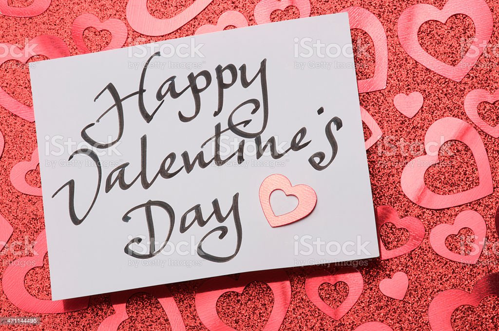 Happy Valentine's Day Note Handwritten Sparkly Red Hearts royalty-free stock photo