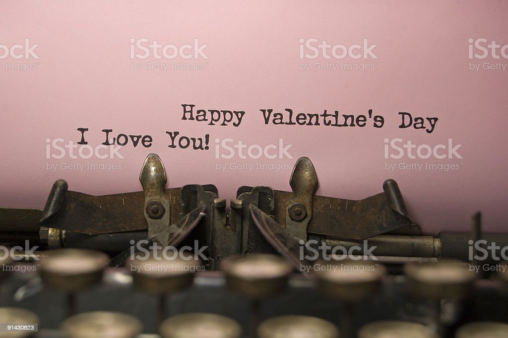 Happy Valentine's Day on antique typewriter royalty-free stock photo