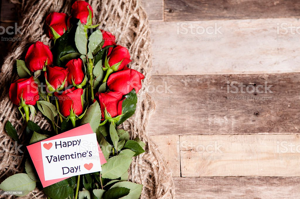 Happy Valentines Day Red Roses Bouquet Notecard Burlap Rustic Table