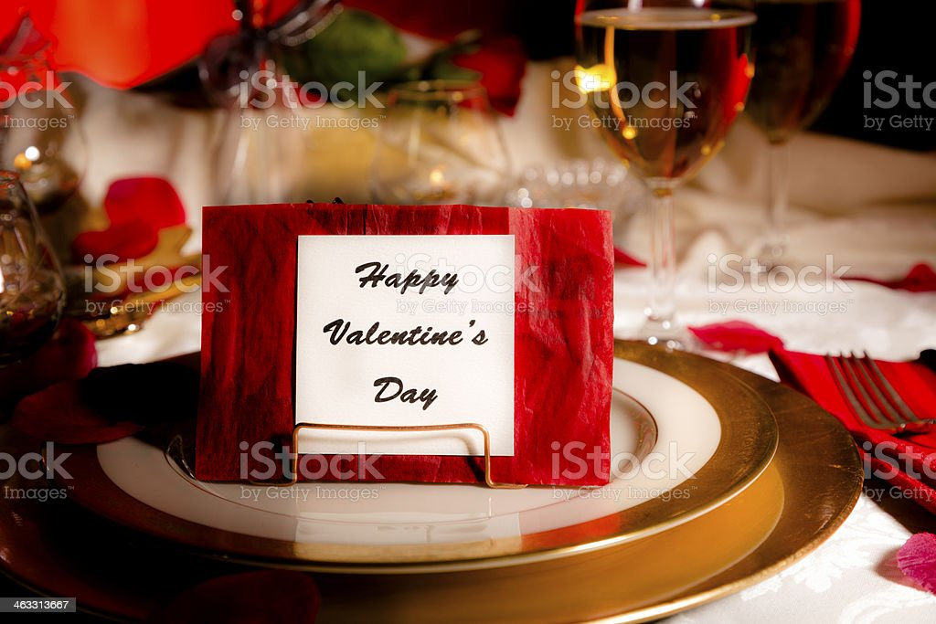 Happy Valentine\u0027s Day Romantic table setting. Dining candlelight dinner. royalty-free & Happy Valentines Day Romantic Table Setting Dining Candlelight ...