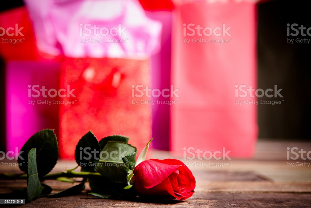 Happy Valentines Day Rose Red Pink Gift Bags Party Copyspace stock ...