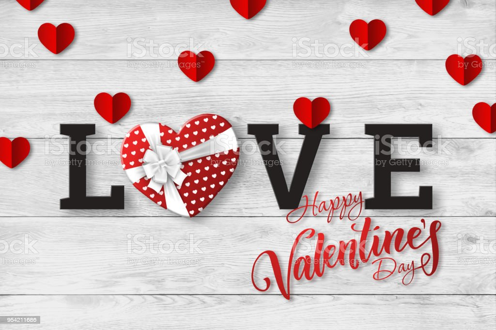 Happy Valentine's Day, web banner. Composition with a realistic gift in the form of heart and paper hearts on a white background. Romantic background, Flyer, postcard, invitation, raster illustration. stock photo