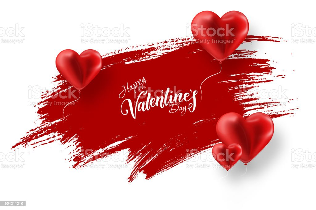 Happy Valentine's Day, web banner. Composition with red balloons in the form of a heart against a red brush stroke. Romantic background, Flyer, postcard, invitation, raster illustration. stock photo